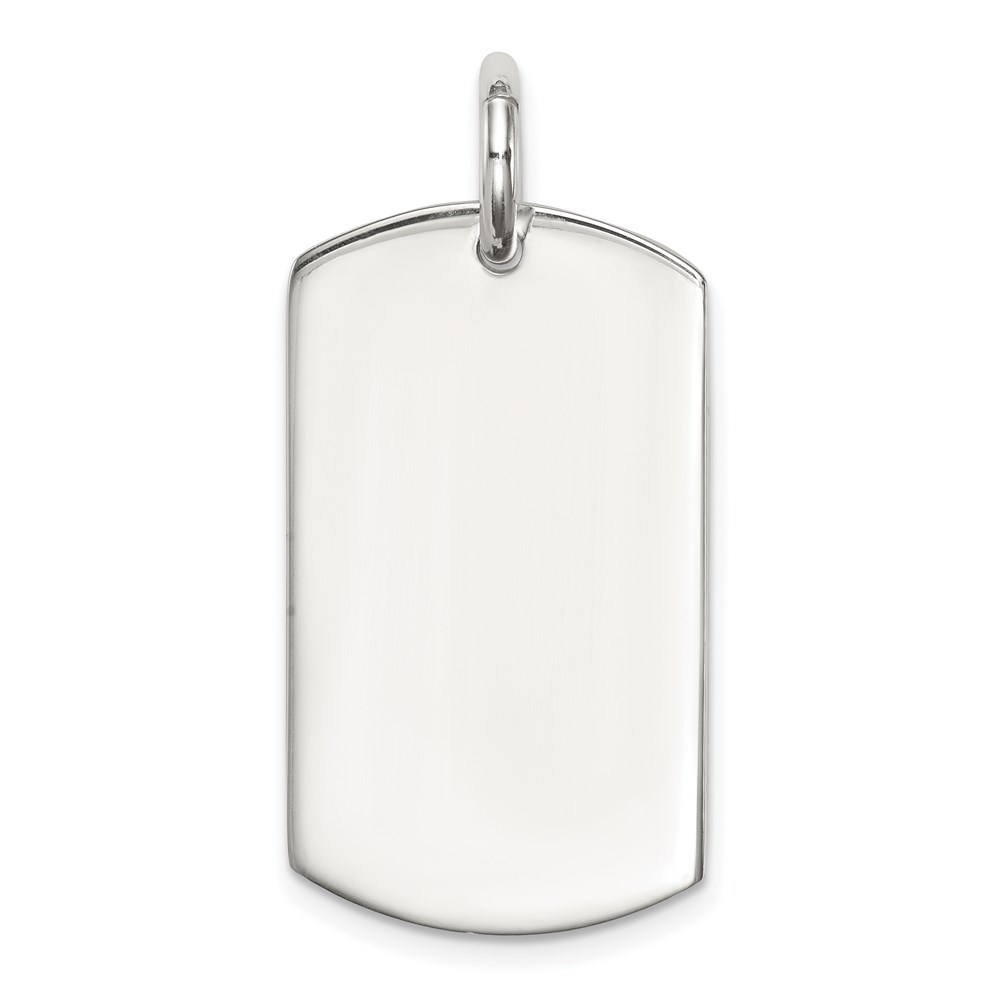 Carat in Karats Sterling Silver Rhodium Plated Engravable Dog Tag Polished /& Satin Finish Disc Charm 38mm x 19mm