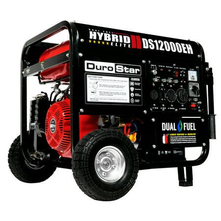 DuroStar 12000-Watt 18Hp Hybrid Dual Fuel Powered Portable Electric Start Generator with Wheel Kit