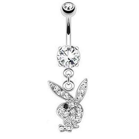 Belly Button Ring Multi Paved Gems on Playboy Bunny Dangle 316L Surgical Steel Navel Ring