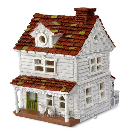 Miniature Gingerbread and Chicken Farm House for Miniature Garden, Fairy - Miniature Farm