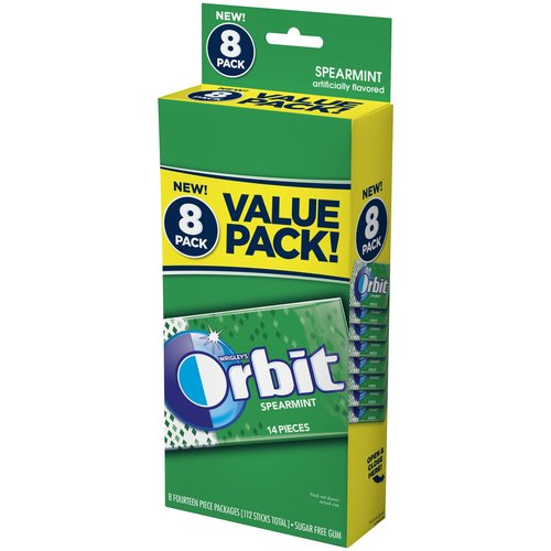 Orbit Spearmint Sugar Free Gum, 8 ct