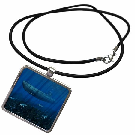 3dRose German uboat submarine in shallow waters with shark - Necklace with Pendant (ncl_172908_1)