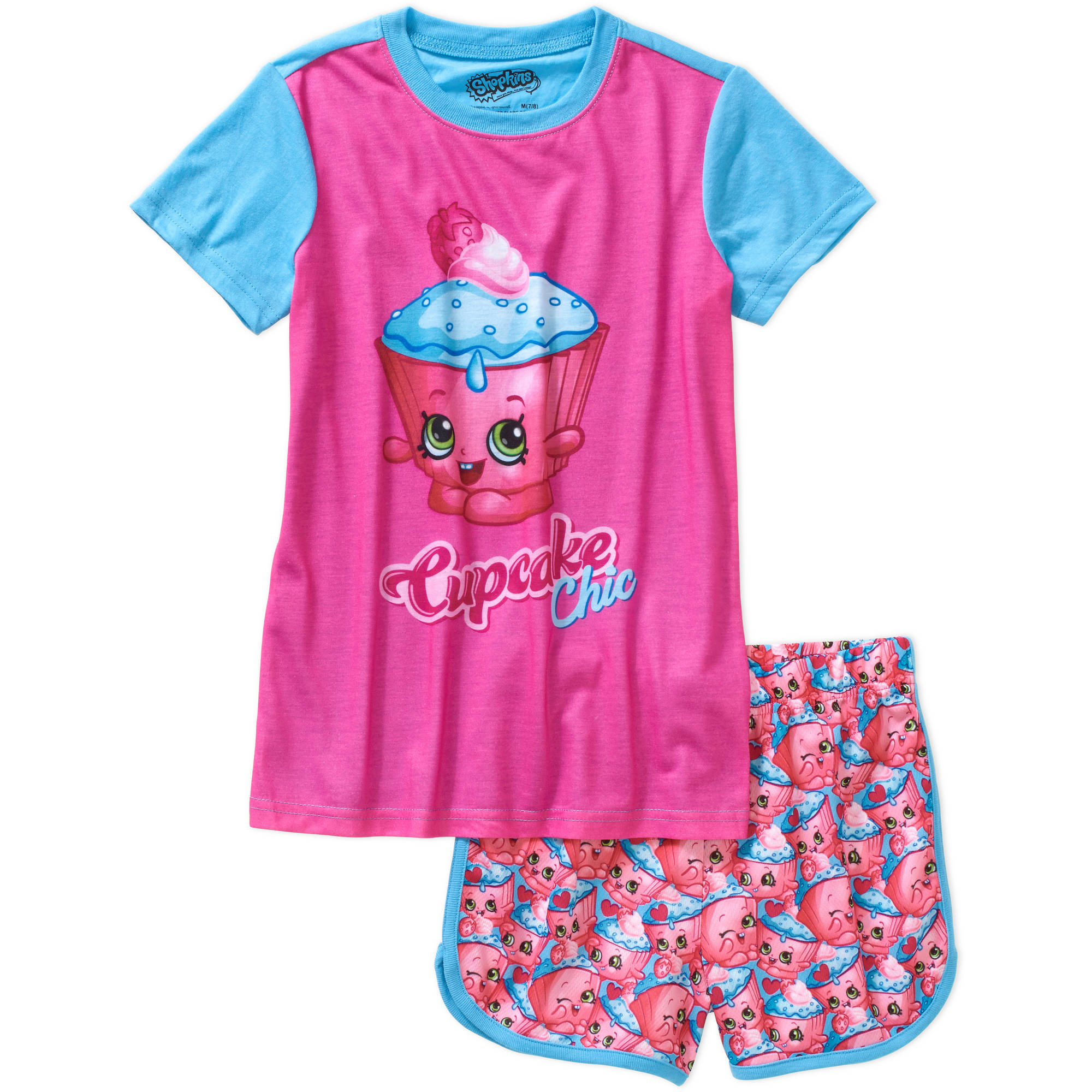 Shopkins Girls' Cupcake Chic Short Sleeve Top and Shorts Sleepwear Set