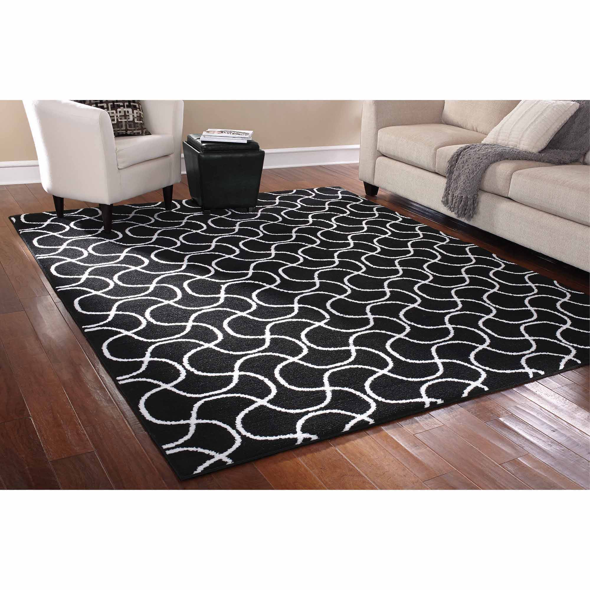 Mainstays Rug in a Bag Drizzle Area Rug, Black/White
