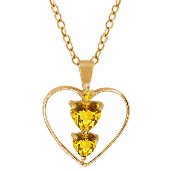 0.69 Ct Heart Shape Yellow Citrine 14K Yellow Gold Pendant
