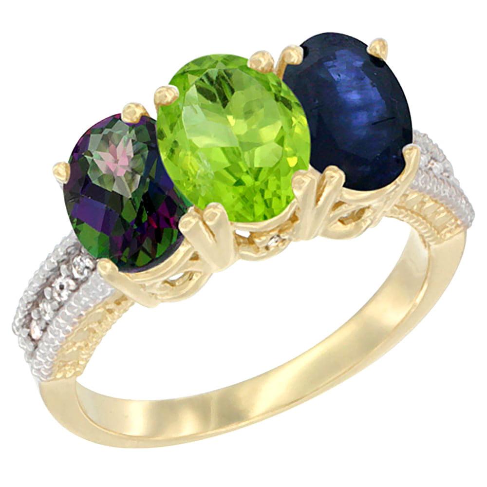 14K Yellow Gold Natural Mystic Topaz, Peridot & Blue Sapphire Ring 3-Stone 7x5 mm Oval Diamond Accent, sizes 5 10 by WorldJewels