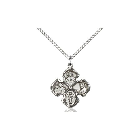 Solid 925 Sterling Silver With Miraculous Virgin Mary Sacred Heart Of Jesus Saint Joseph Saint Christopher 3 4 X 5 8  Medal Pendant On A 18 Sterling Silver Curb Chain Necklace Gift Boxed