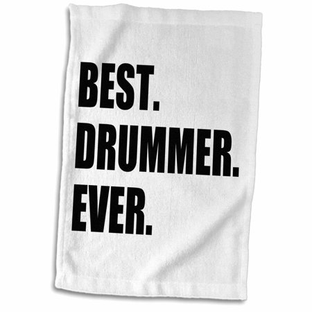 3dRose Best Drummer Ever - fun musical job pride gift for drum pro musicians - Towel, 15 by (Best Drum Mag For Ar 15)