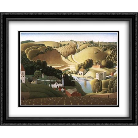 Stone city, Iowa 2x Matted 34x28 Large Black Ornate Framed Art Print by Grant Wood - Staples Iowa City