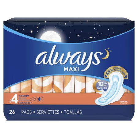ALWAYS Maxi Size 4 Overnight Pads With Wings Unscented, 26 Count](Always With You)