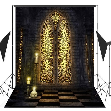 HelloDecor Polyster 5x7ft Halloween Horror Nights Skeleton Fantasy Castle Costume Party Masquerade Series Photo Backdrops Studio Background Studio Props - Masquerade Backdrop