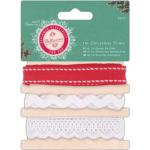 Papermania Bellissima Christmas Trims, 3 Styles/1m Each