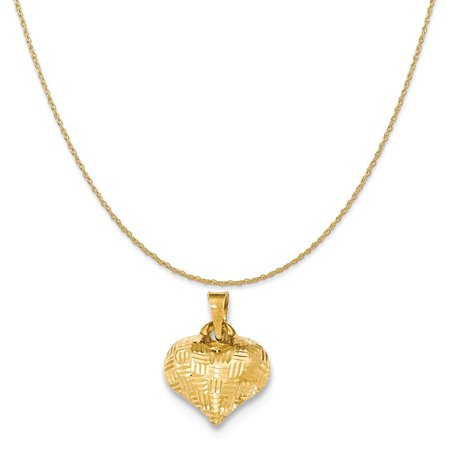 14k Yellow Gold Textured Puff Heart Pendant on a 14K Yellow Gold Rope Chain Necklace, (14k Yellow Gold Heart Dangle Necklace)