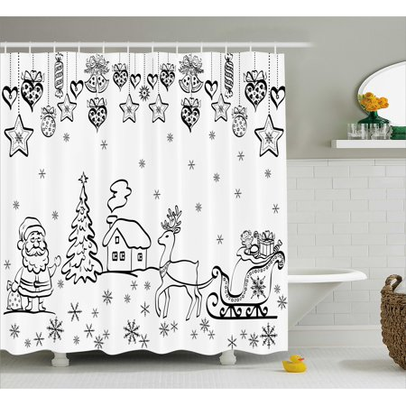 - Christmas Decorations Shower Curtain, Tree Ornaments Santa Sleigh Rudolph Reindeer Toys Jingle Bells Image, Fabric Bathroom Set with Hooks, 69W X 70L Inches, Black White, by Ambesonne