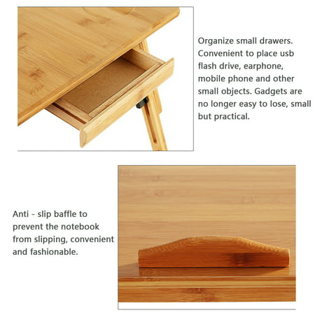 Adjustable Portable Folding Table Bed Desk Stand With Drawer For Computer Laptop Notebook PC(Wood) - image 8 of 10