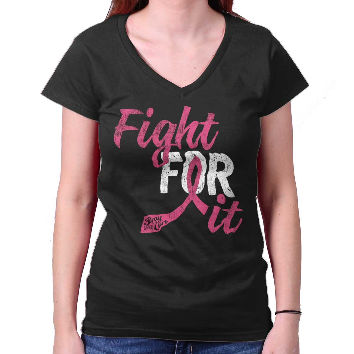 Breast Cancer Awareness Shirt | Fight for It Pink Ribbon BCA Junior V-Neck Tee