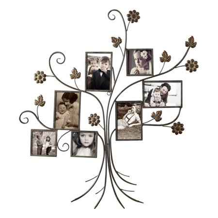 Adeco Trading 7 Opening Decorative Bronze-Color Iron Tree Photo Collage Wall Hanging Picture Frame