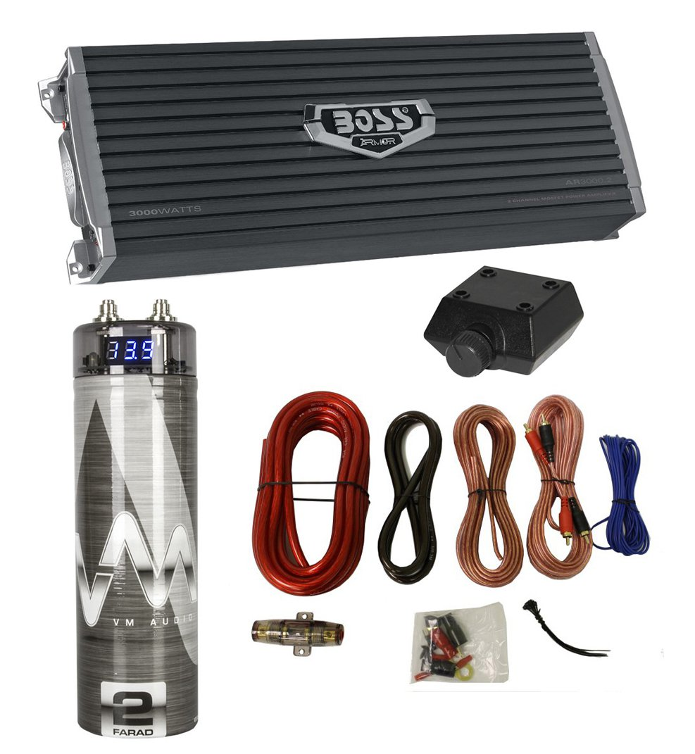 Boss AR3000.2 3000 Watt 2-Channel Car Audio Amplifier + Capacitor + Amp Kit