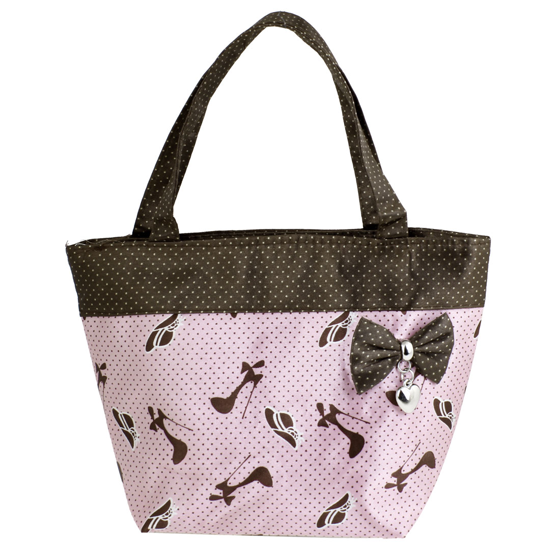 Pink Brown Portable Bag Bowknot Detail Zip up Polyester Shopping Handbag