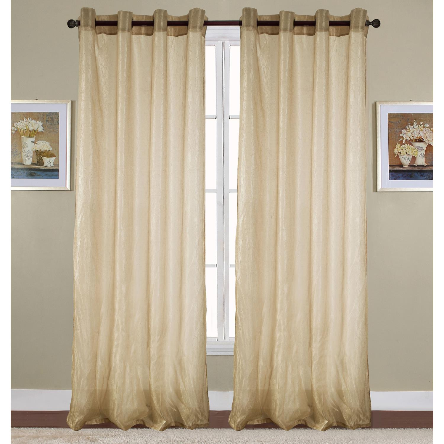 Maya Crushed 52 x 90 in. Grommet Single Curtain Panel, Taupe by Ramallah Trading Company, Inc.