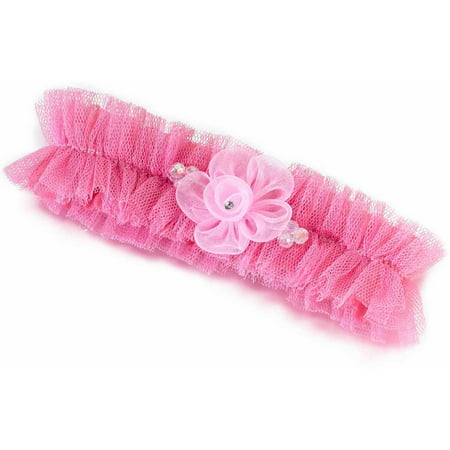Tulle Garter with Flower, Pink