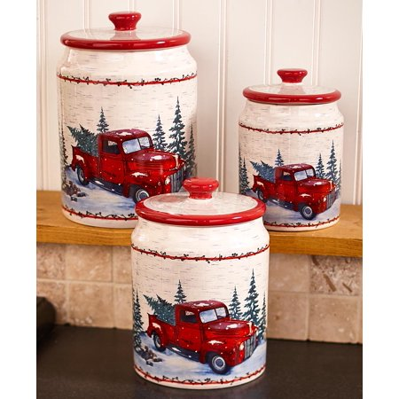 The Lakeside Collection Set of 3 Vintage Country Kitchen Canisters ()