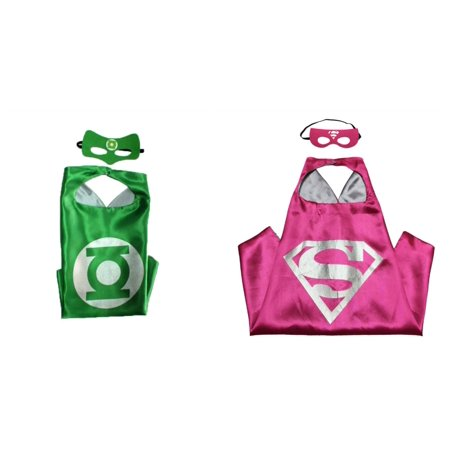 Green Lantern & Supergirl Costumes - 2 Capes, 2 Masks w/Gift Box by Superheroes - Costume D'halloween Au Canada