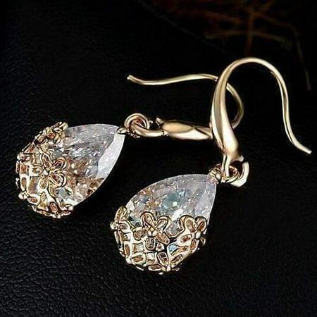 ON SALE - Infused Diamond Dust Dangling Earrings 18K Yellow Gold (18k Yellow Gold Diamond Earrings)