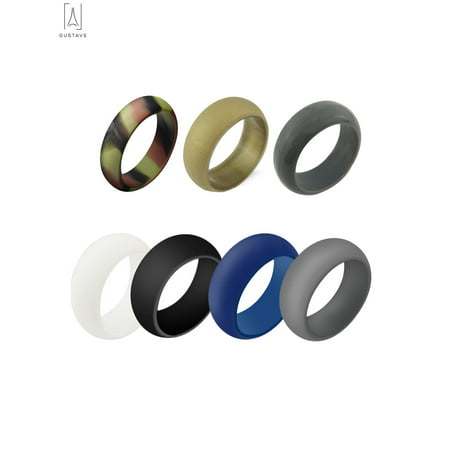 GustaveDesign Pack of 7 Silicone Wedding Ring for Men, Antibacterial Rubber Band Rings Fit for Sports& Outdoors