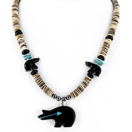 Graduated Onyx (Certified Authentic Carved Bear Navajo .925 Sterling Silver Graduated Heishi Turquoise Black Onyx and Hematite Native American Necklace)