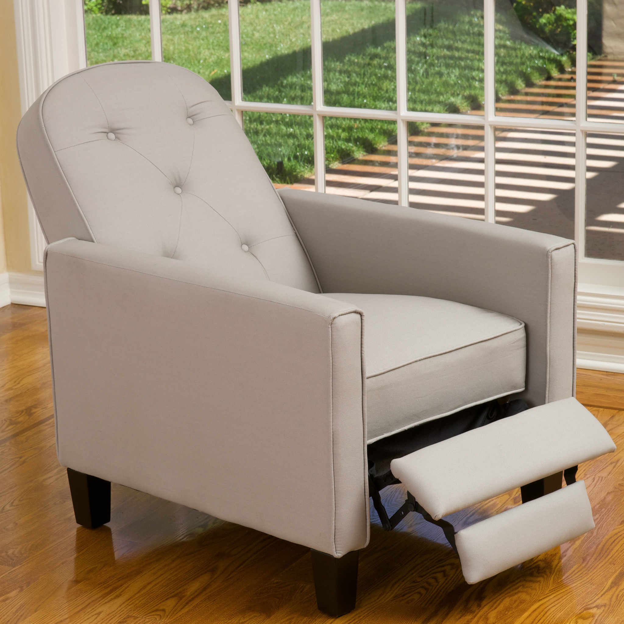 Bimo Grey Tufted Fabric Recliner