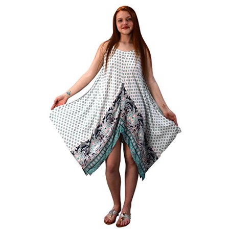 Peach Couture Womens Gypsy Fashion Handkerchief Hem Spaghetti Strap Tunic Dress