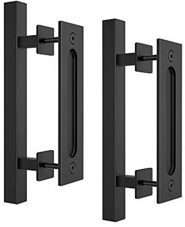 Barn Door Handle Pull Set 2 Pack Screws Included | 10 Matte Black