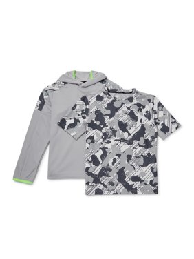 Russell Boys Long Sleeve Hoodie and Camo Printed Short Sleeve Shirt, 2-Piece Bundle, Sizes 4-18