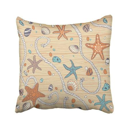WOPOP Plank Seastars Rope Seastones And Seashells On Wooden Wood Beach Blank Board Cartoon Coast Pillowcase Pillow Cover 20x20 (Best Seashell Beaches On The East Coast)