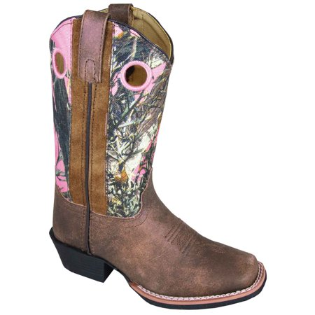Smoky Mountain Girl's Mesa Brown Distress/Pink Camo Western Boots 3449 Camouflage Womens Boots