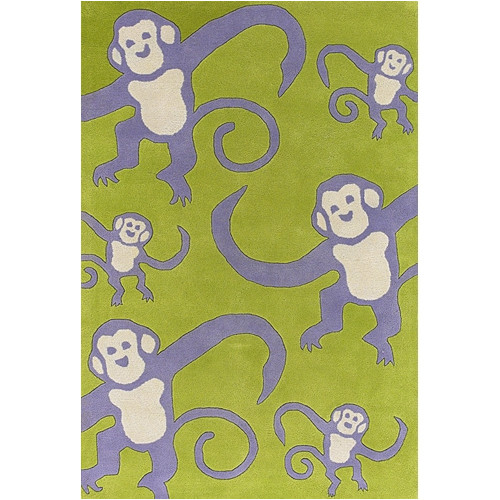 Chandra Rugs Kids Green Monkey Area Rug