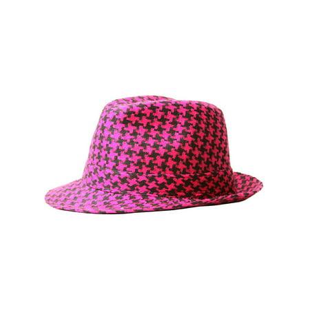 TopHeadwear Fedora Hound Tooth Design](Pink Fedora)