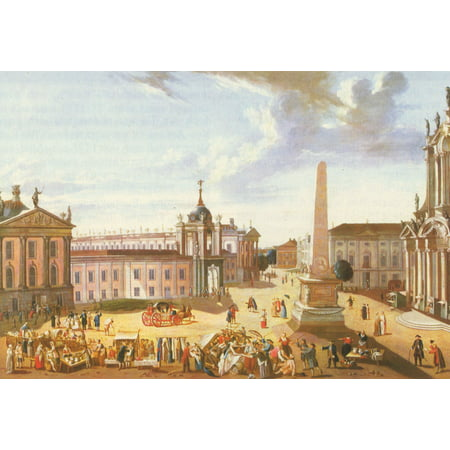 Framed Art for Your Wall Baron, Karl Christian Wilhelm - Potsdam, Alter Markt with view of the Castle Street 10 x 13 Frame (Parts Altered Art)