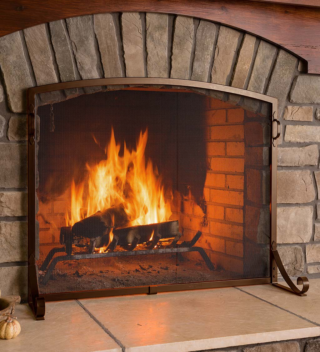 Arched Top Flat Guard Fireplace Screen, Large, in Bronze
