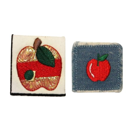 Fruit Craft (ID 1229AB Set of 2 Apple Craft Patches Tree Fruit Embroidered Iron On)