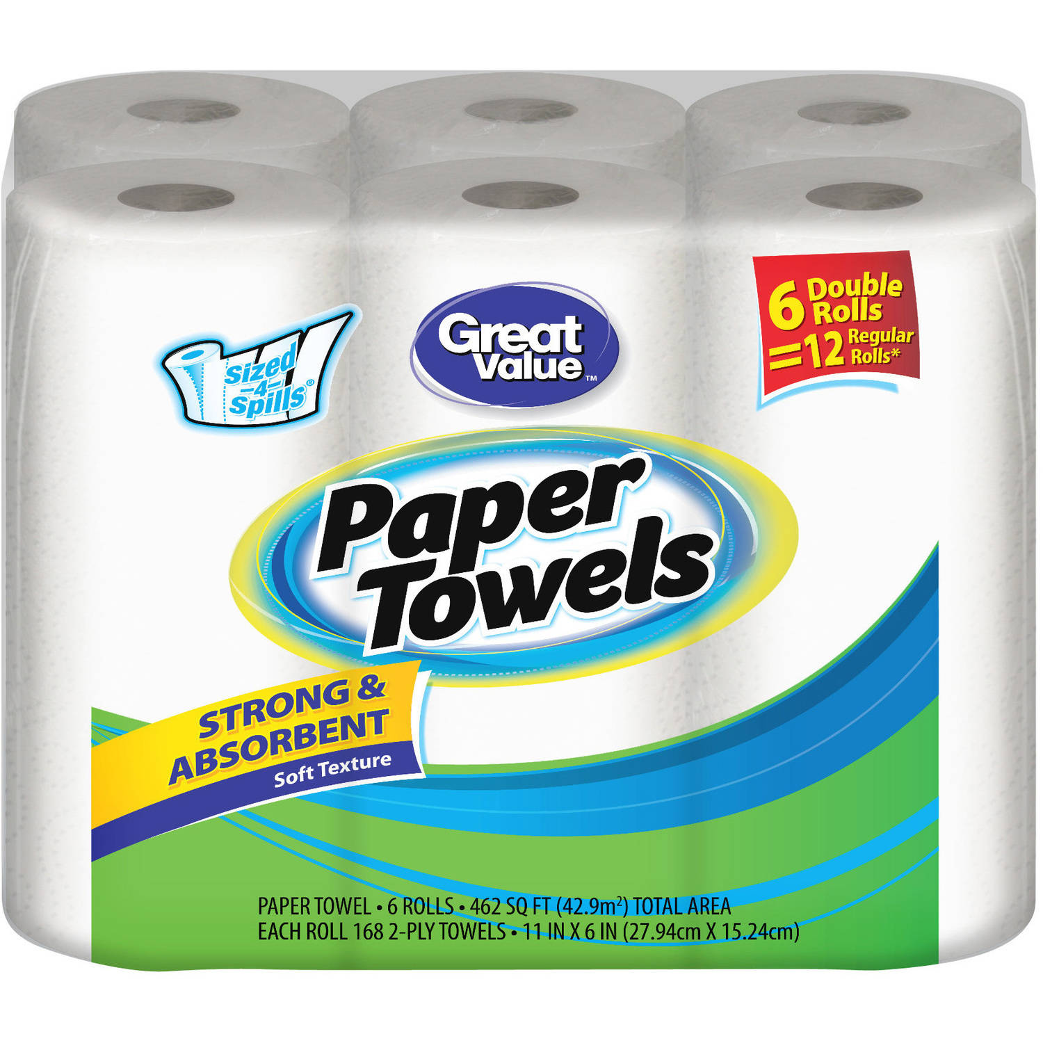 Great Value Double Rolls Sized-4-Spills White 2-Ply Paper Towels, 168 sheets, (Pack of 6)