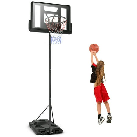 Gymax Height Adjustable Portable Basketball Hoop System Shatterproof Backboard