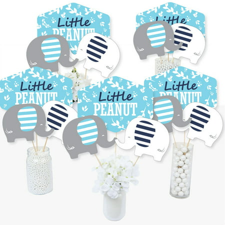 Blue Elephant - Boy Baby Shower or Birthday Party Centerpiece Sticks - Table Toppers - Set of 15 - Quinceanera Centerpieces For Tables