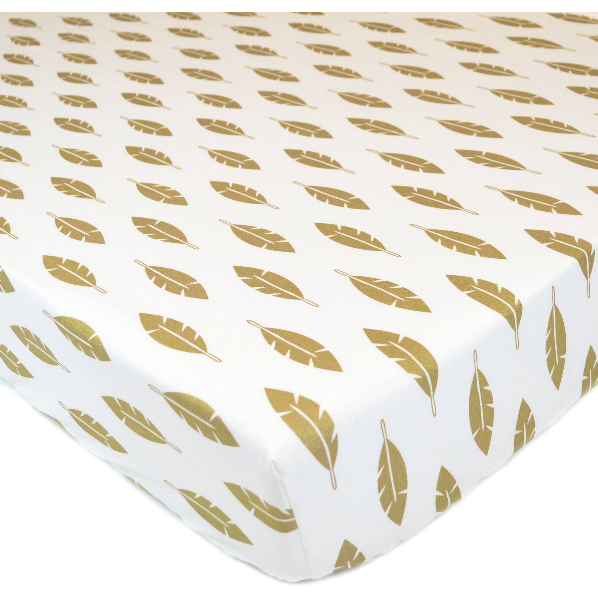 American Baby Company 100 Percent Cotton Percale Printed Sparkle Fitted Crib Sheet, Gold Leaves