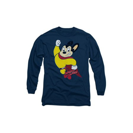 Mighty Mouse Cartoon CBS TV Series Classic Hero Adult Long Sleeve T-Shirt Tee