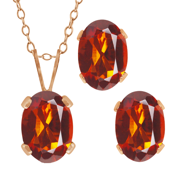 1.50 Ct Oval Orange Red Madeira Citrine Gold Plated Silver Pendant Earrings Set