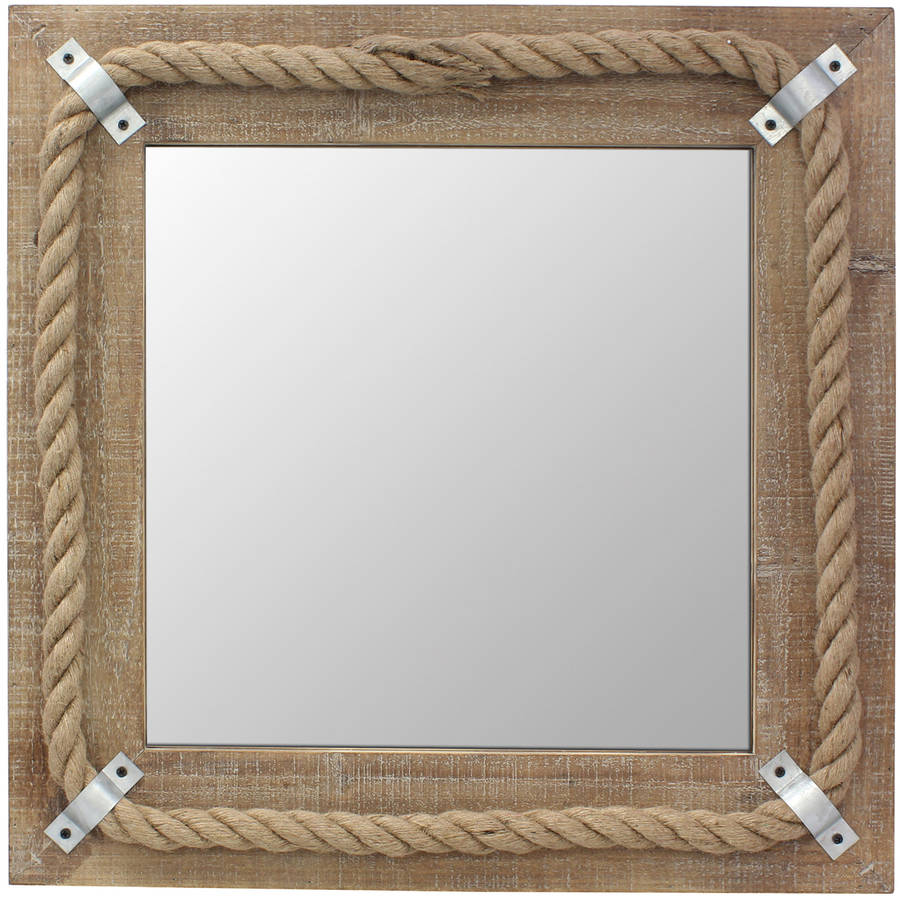 Square Wood Mirror with Rope Detail by CKK HOME DECOR