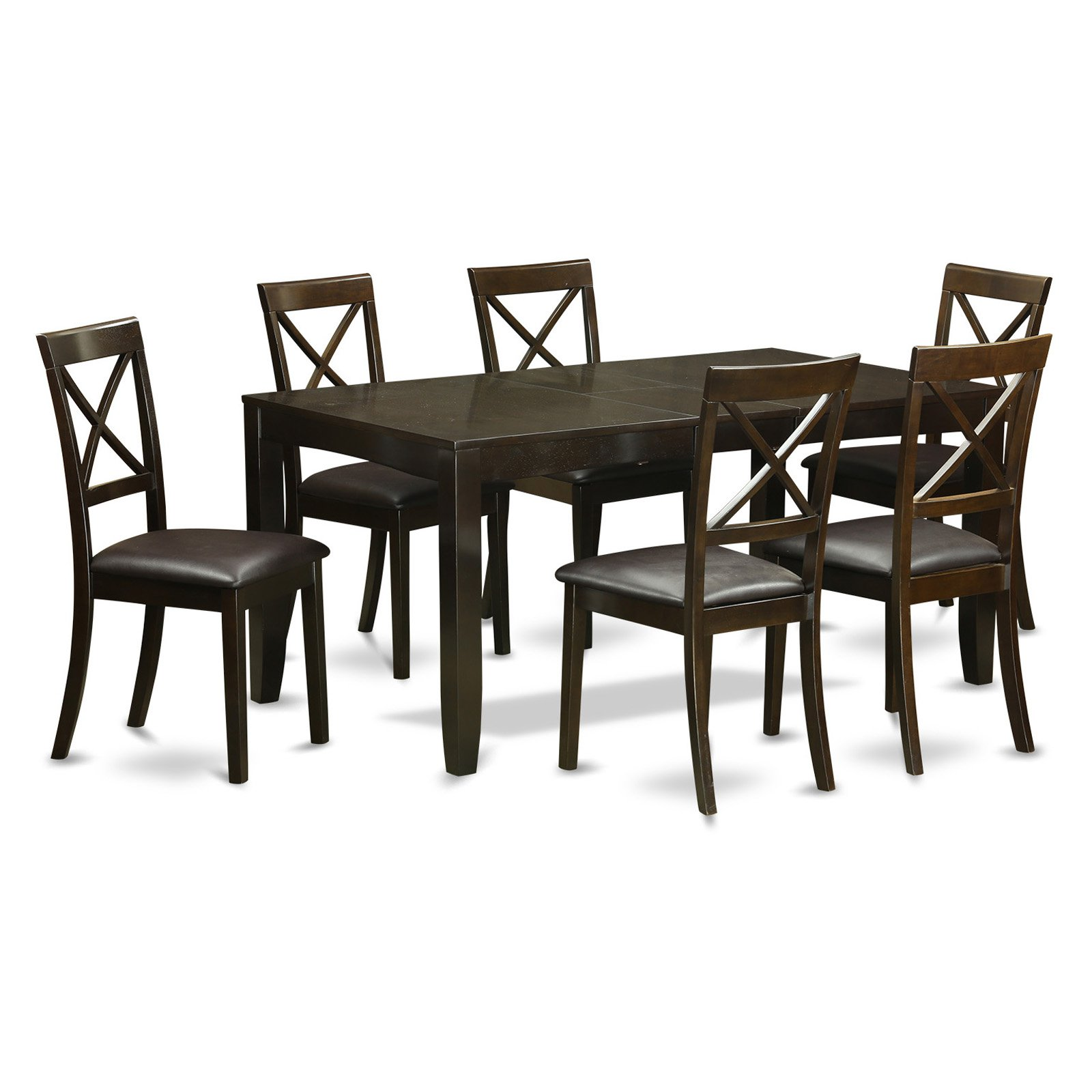 East West Furniture Lynfield 7 Piece Extension Dining Table Set with Boston Chairs
