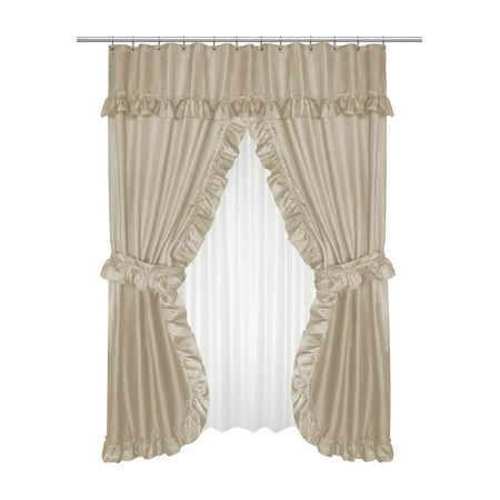 Complete Shower Kits (GoodGram Lauren Complete 5 Piece Attached Shower Curtain & Valance Set - Linen )